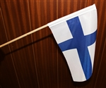 Suomi Finland Flag, 19x32 cm, with wooden stick