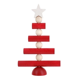 Aarikka CHRISTMAS TREE Table, Door or Window Decor, RED/ecru